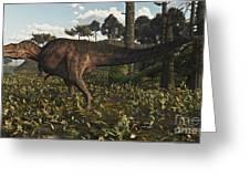 Acrocanthosaurus Dinosaur Roaming Greeting Card
