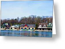 Across From Boathouse Row - Philadelphia Greeting Card by Bill Cannon