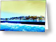 Across The Dam To Boathouse Row. Greeting Card