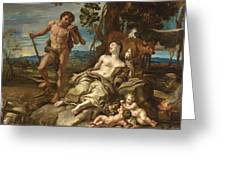 Adam And Eve With The Infants Cain And Abel Greeting Card