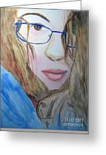 Addie In Blue Greeting Card