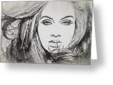 Adele Charcoal Sketch Greeting Card