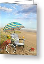 Adirondack Chair With Bicycle And Umbrella By The Seaside Greeting Card