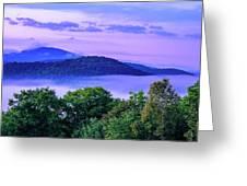 Adirondack Mountains In Fog Greeting Card