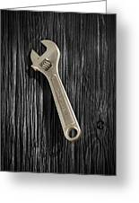 Adjustable Wrench Over Black And White Wood 72 Greeting Card