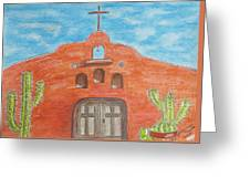 Adobe Church And Cactus Greeting Card