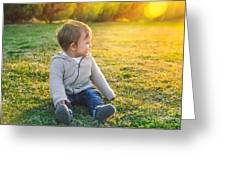 Adorable Baby Playing Outdoors Greeting Card