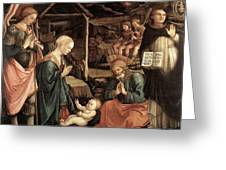 Adoration Of The Child With Saints 1460 65 Fra Filippo Lippi Greeting Card