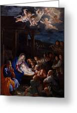 Adoration Of The Shepherds Greeting Card by Guido Reni