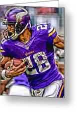 Adrian Peterson Minnesota Vikings Art Greeting Card