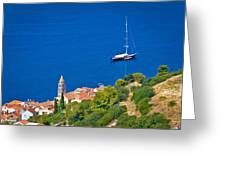 Adriatic Town Of Vis Sailing Destination Waterfront Greeting Card