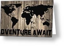 Adventure Awaits Graphic Barn Door Greeting Card