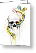 Adventure Time Skull Jake Finn Lady Rainicorn Watercolor Greeting Card by Olga Shvartsur