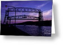 Aerial Lift Bridge At Sundown Greeting Card