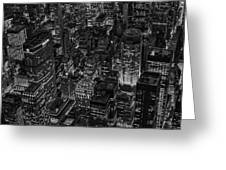 Aerial New York City Skyscrapers Bw Greeting Card