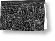 Aerial New York City Sunset Bw Bw Greeting Card