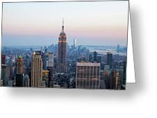 Aerial Night View Of Manhattan Skyline In New York Greeting Card