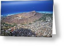 Aerial Of Diamond Head Greeting Card