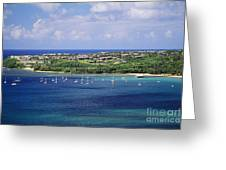 aerial of  Hanalei Bay and Princeville Resort Greeting Card
