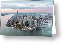 Aerial Of Lower Manhattan Peninsula At Sunset, New York, Usa Greeting Card