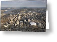 Aerial Of New Orleans Looking East Greeting Card