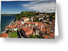 Aerial Of Piran Slovenia On Gulf Of Trieste Adriatic Sea With St Greeting Card