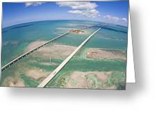 Aerial Of Seven Mile Bridge At Extreme Greeting Card