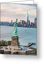 Aerial Of The Statue Of Liberty At Sunset, New York, Usa Greeting Card