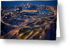 Aerial Of The Superdome In The Downtown Greeting Card by Tyrone Turner