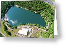 Aerial Over Blue Stone Quarry In North Carolina Greeting Card