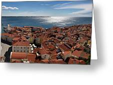 Aerial Panorama Of Piran Slovenia On Adriatic Sea With Marina An Greeting Card