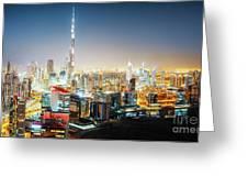 Aerial Panorama View Of Dubai By Night Greeting Card