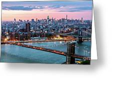 Aerial Panoramic Of Midtown Manhattan At Dusk, New York City, Us Greeting Card