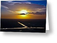 Aerial Sunset Over Canal Greeting Card