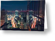 Aerial View Cityscape At Night In Tokyo Japan From A Skyscraper Greeting Card