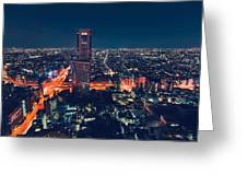 Aerial View Cityscape At Night In Tokyo Japan Greeting Card