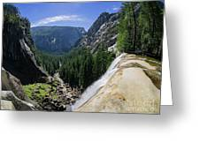 Aerial View From The Top Of The Upper Yosemite Fall Greeting Card