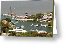Aerial View Harbour Town Lighthouse In Hilton Head Island Greeting Card