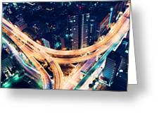 Aerial-view Highway Junction At Night In Tokyo Japan Greeting Card