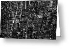 Aerial View Midtown Manhattan Nyc Bw Greeting Card