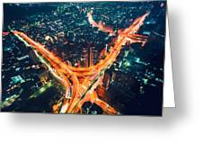 Aerial View Of A Massive Highway Intersection In Tokyo Greeting Card