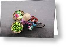 Aerial View Of A Vietnamese Traditional Seller On The Bicycle With Bags Full Of Vegetables Greeting Card