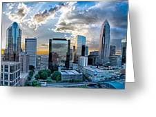 Aerial View Of Charlotte City Skyline At Sunset Greeting Card
