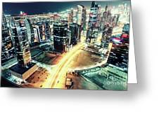 Aerial View Of Dubai's Business Bay At Night. Greeting Card