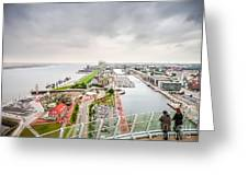 Aerial View Of Famous Havenwelten In Bremerhaven Greeting Card