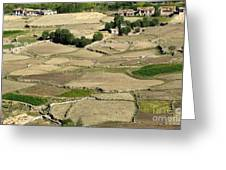 Aerial View Of Green Ladakh Agricultural  Landscape Greeting Card