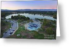 Aerial View Of Lake Balboa Park  Greeting Card