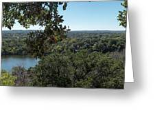 Aerial View Of Large Forest And Lake Greeting Card