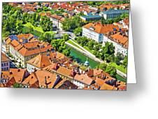 Aerial View Of Ljubljana Green River Greeting Card