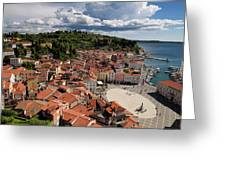 Aerial View Of Piran Slovenia On The Adriatic Sea Coast With Har Greeting Card